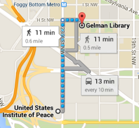 Walking map from the US Institute of Peace to Gelman Library