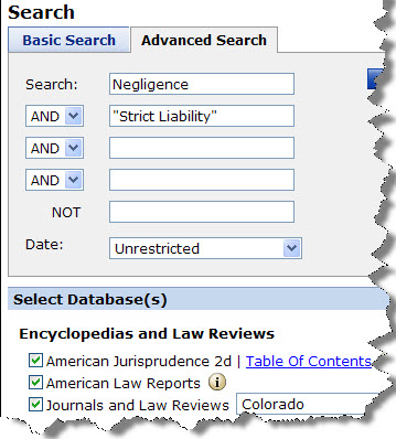 Search Westlaw Legal Matters
