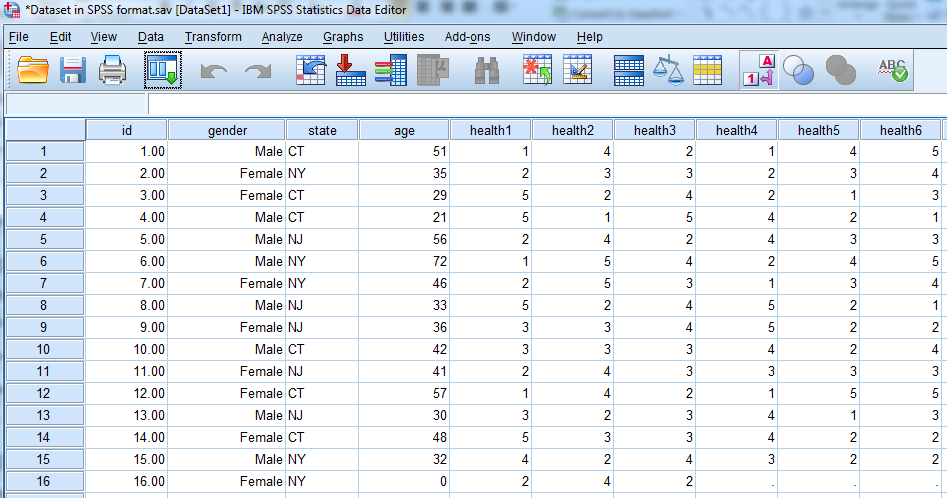 An example of data in SPSS with column headers: id, gender, state, age, health1, health2, health3, health4, health5, health6