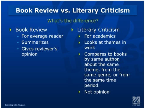 book review vs lit criticism