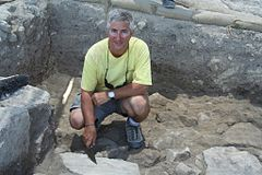 Eric H. Cline excavating at Megiddo.