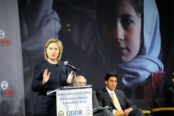 "U.S. Secretary of State Hillary Rodham Clinton and USAID Administrator Rajiv Shah host a town hall meeting to discuss the release of the first Quadrennial Diplomacy and Development Review, ""Leading Through Civilian Power,"" with USAID and Department of State employees, in the Atrium Hall of the Ronald Reagan Building."