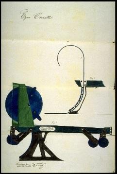 Ezra Cornell machine for laying pipes underground