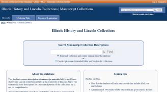 Screenshot of Manuscript Collection Database