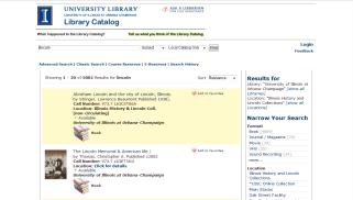 Screenshot of VuFind Catalog