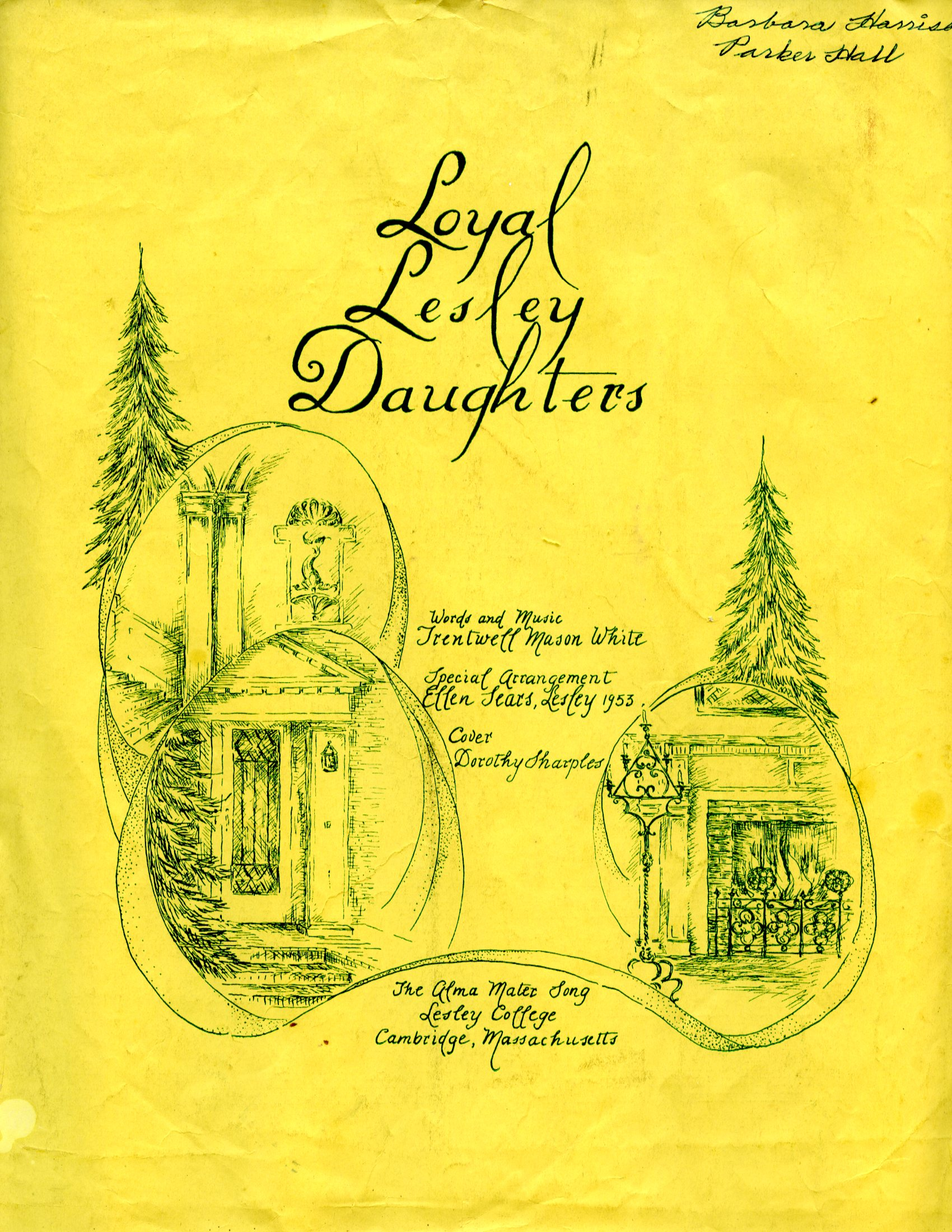 "Yellow cover of ""Loyal Lesley Daughters"" sheet music"