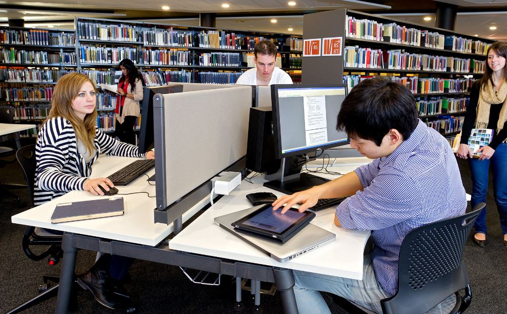 Students researching in the library.