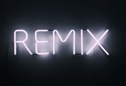 REMIX written in fluorescent lights
