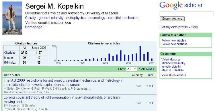 Google Scholar Citations profile