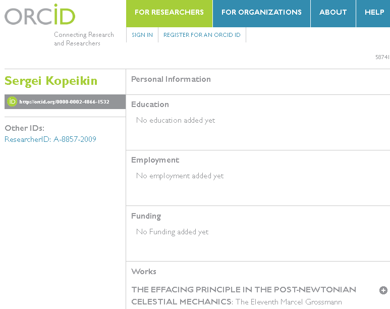 ORCID Author Profile
