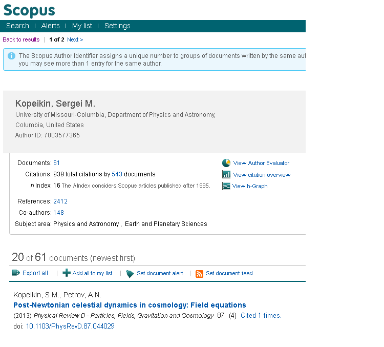 Scopus Author Profile