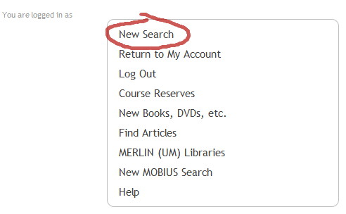 screenshot showing new search button