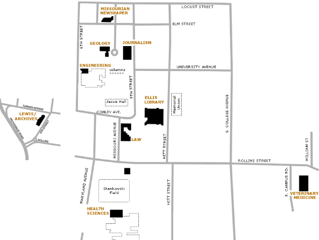 A map showing the library locations on the MU campus in Columbia, MO