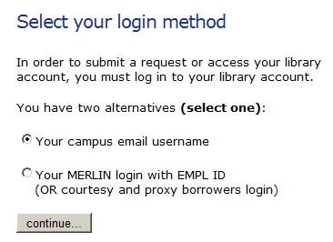 screenshot of MERLIN log in page