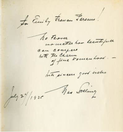 Handwritten note and autograph from Schling, June 24, 1935