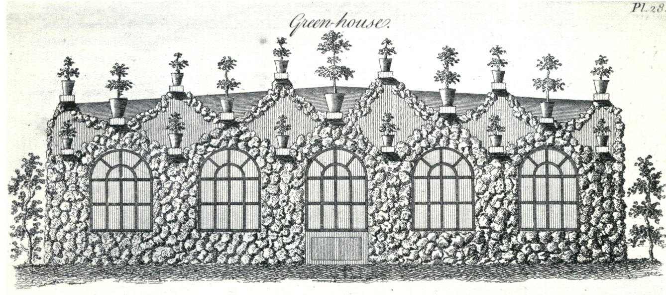 Greenhouse with stone facade