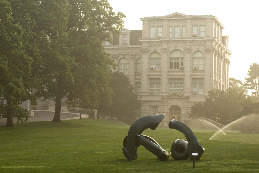 Image of Library Building with Sculpture on the front lawn