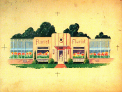 Florist facade with greenhouse wings