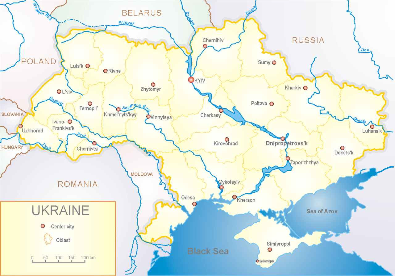 """""""Map of Ukraine political enwiki"""" by Steschke. Licensed under CC BY-SA 3.0 via Wikimedia Commons - https://commons.wikimedia.org/wiki/File:Map_of_Ukraine_political_enwiki.png#/media/File:Map_of_Ukraine_political_enwiki.png"""