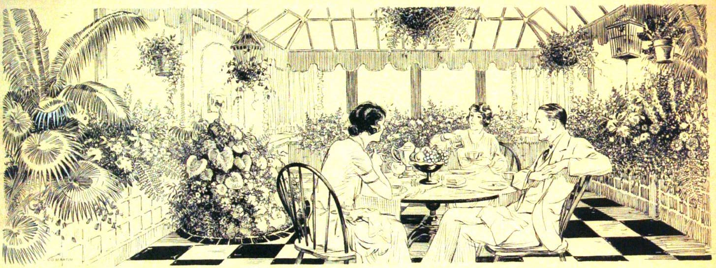 Three people dining in glasshouse with flowers