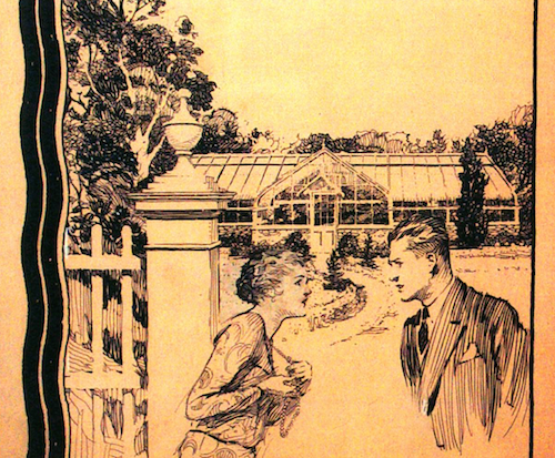 Man and woman talking in front of greenhouse