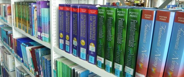 Printed journals on library shelves