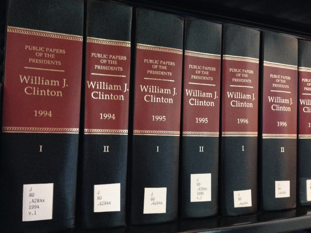 Books containing the Public Papers of William J. Clinton