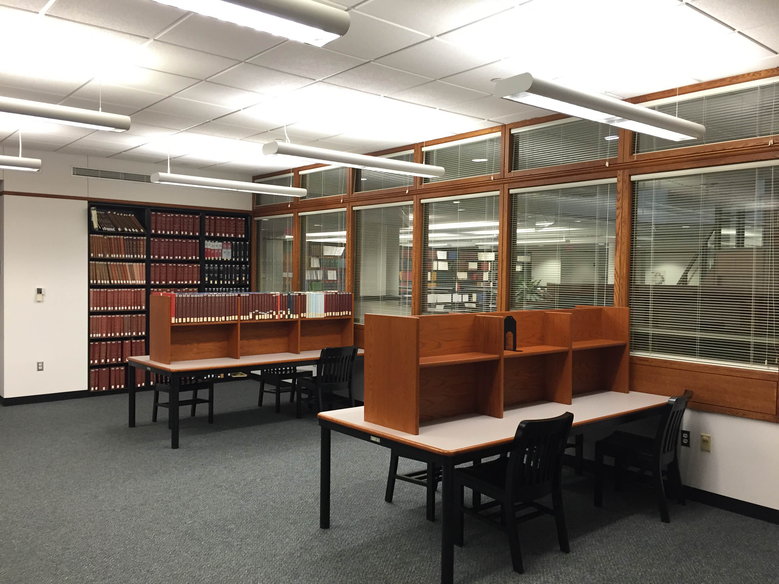 Study tables with dividers in Microforms room