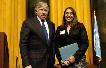 Columbia University President Lee C. Bollinger presents Natasha Trethewey with the 2007 Pulitzer Prize in Poetry.