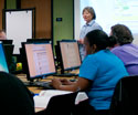 Librarian teaching library session