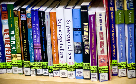 Library reserve textbooks on shelf