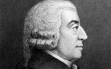 Side profile drawing of Adam Smith