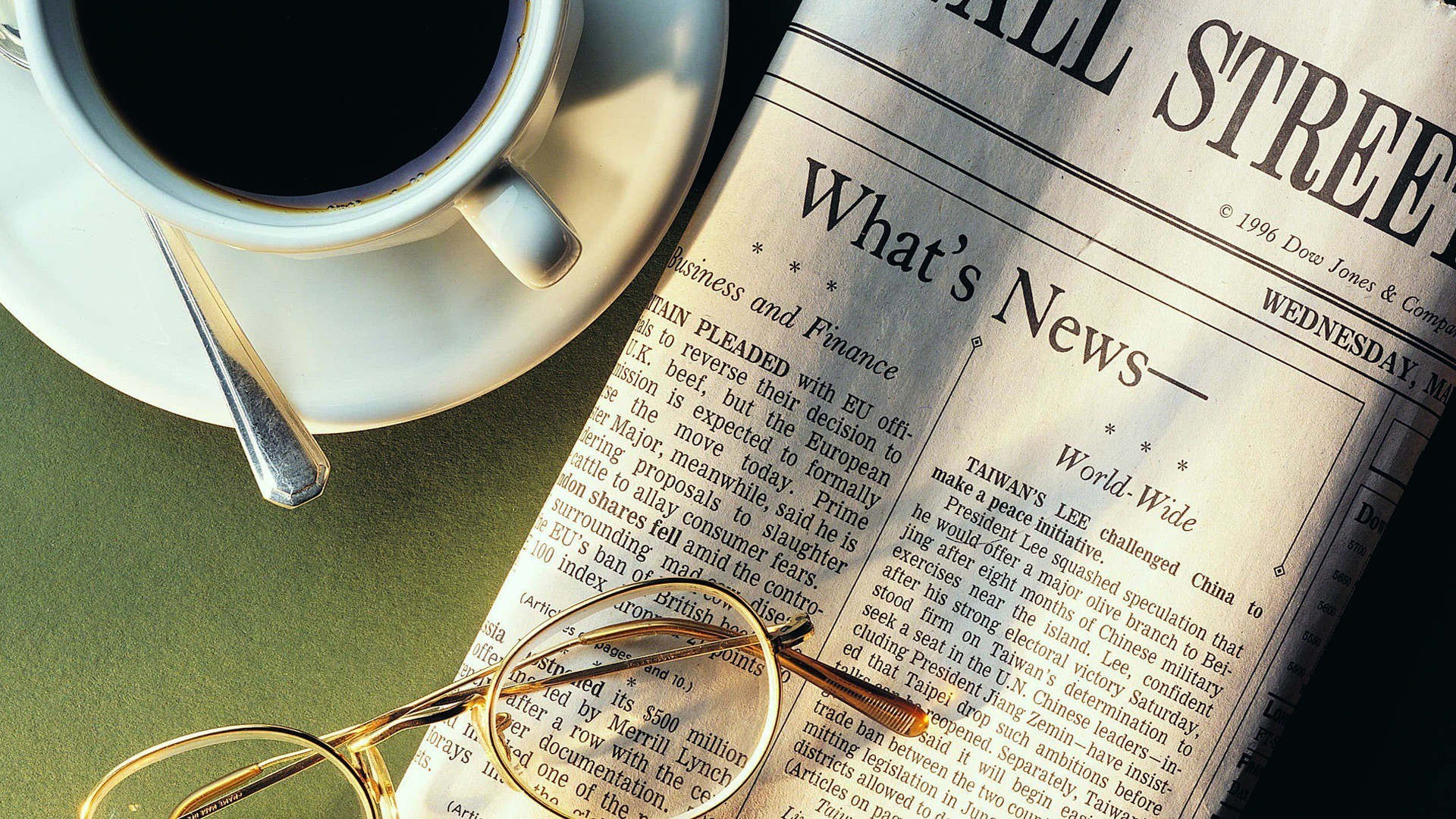 Photograph of Wall Street Journal, coffee, and glasses on table.