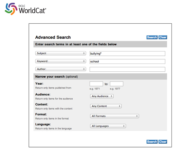 Worldcat - Advanced Search