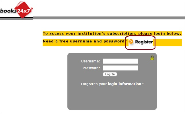 Screenshot of the Books 24x7 login page with a Register link