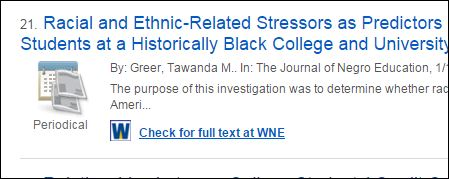 """Screenshot of an article link on the search results page with the """"Check for full text at WNE"""" link under it."""