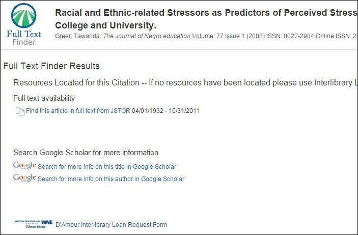 Screenshot of the Full Text Finder page with a link to an article in another database, Google Scholar, and the D'Amour Library interlibrary loan request form