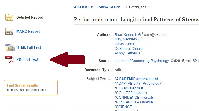 """Screenshot of an article record page (accessed from the search results page) with the """"PDF Full Text"""" link on the left side of the page"""