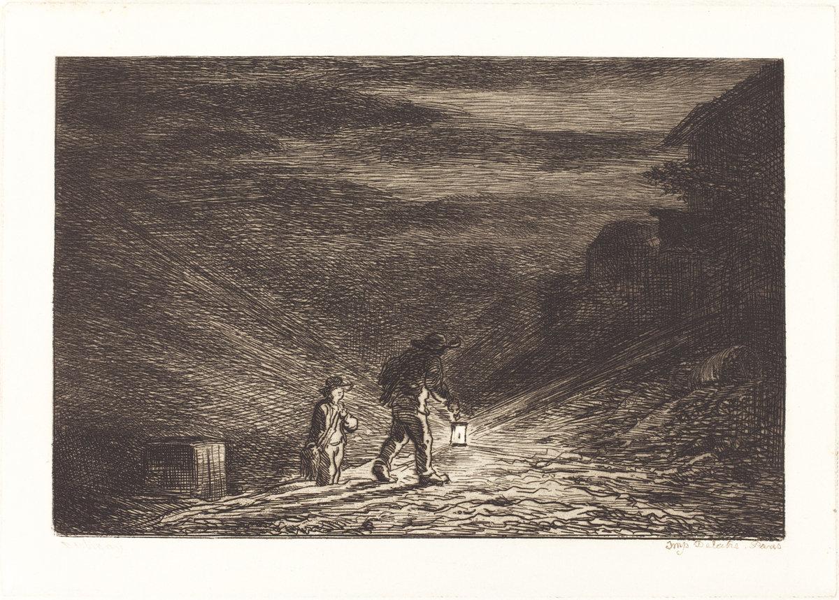 The Search for an Inn (La Recherche d'une auberge), Charles-François Daubigny