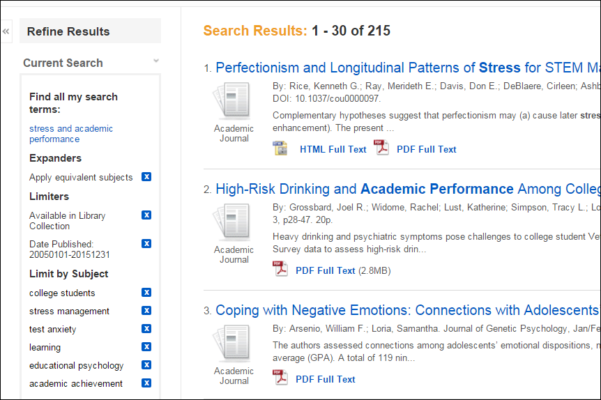 screenshot of a search with refiners: Available in Library Collection, Published from 2005-2015, subject: college students, stress management, test anxiety, learning, educational psychology, academic achievement