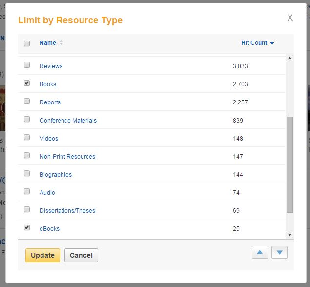 Screenshot of limiting by resource type