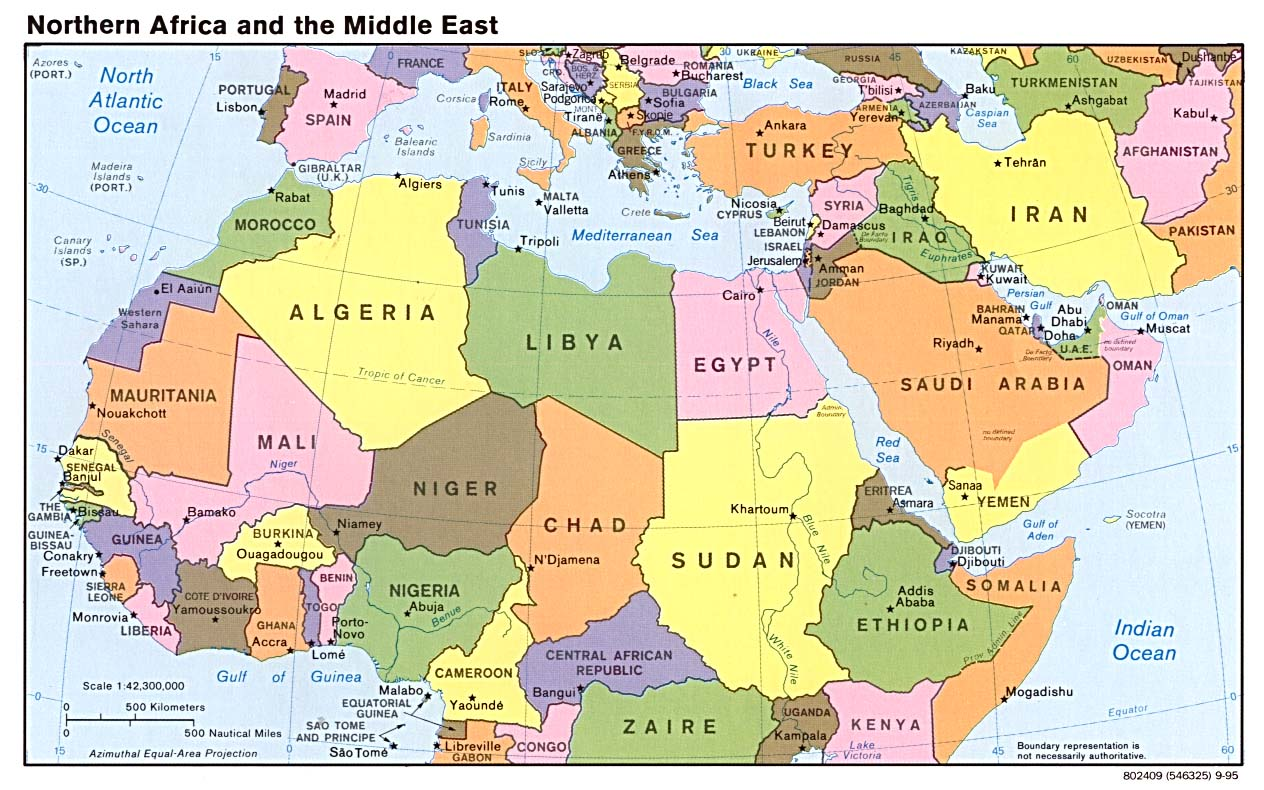 map of Northern Africa and Middle East