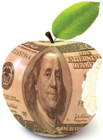 Money in shape of an apple with a bite taken out of it