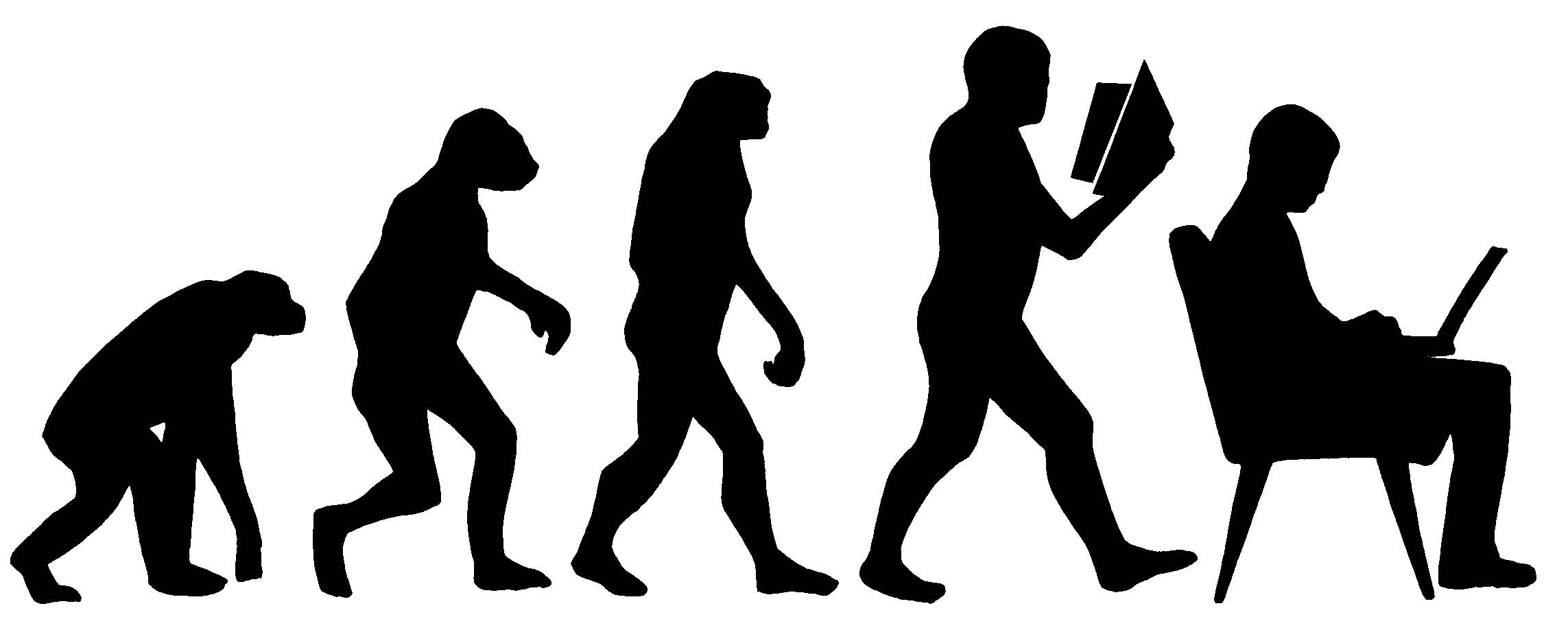 A cartoon showing the evolution of students from a chimp to protohumans to a person sitting with a laptop computer.