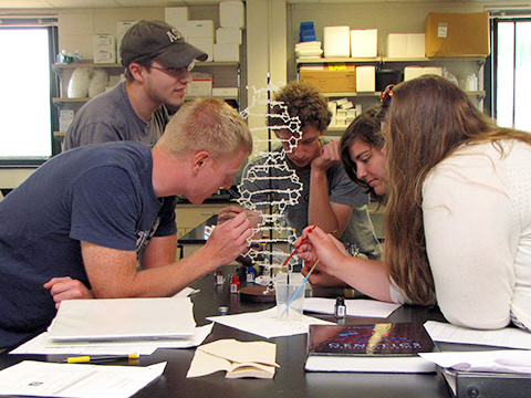 Picture of students in a genetics lab with a double helix model.