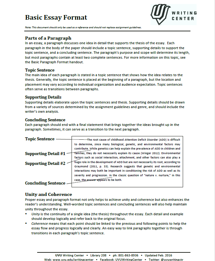 Basic Essay Fromat Page 2