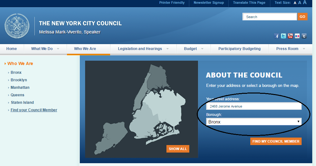 City Council Member Search Page Screenshot
