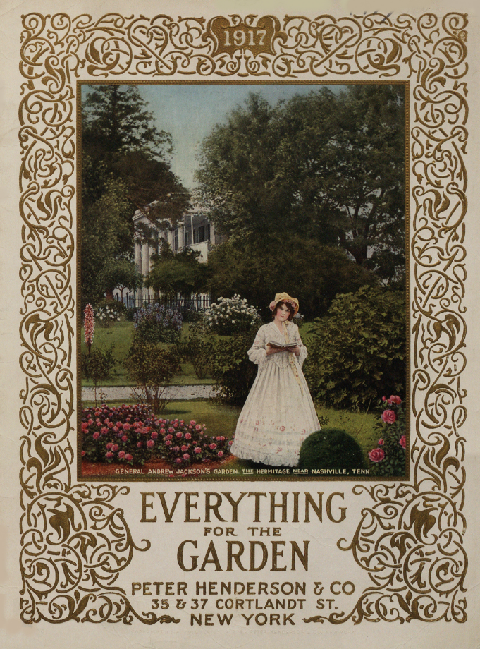 1917 Peter Henderson and Company catalog cover with woman in rose garden