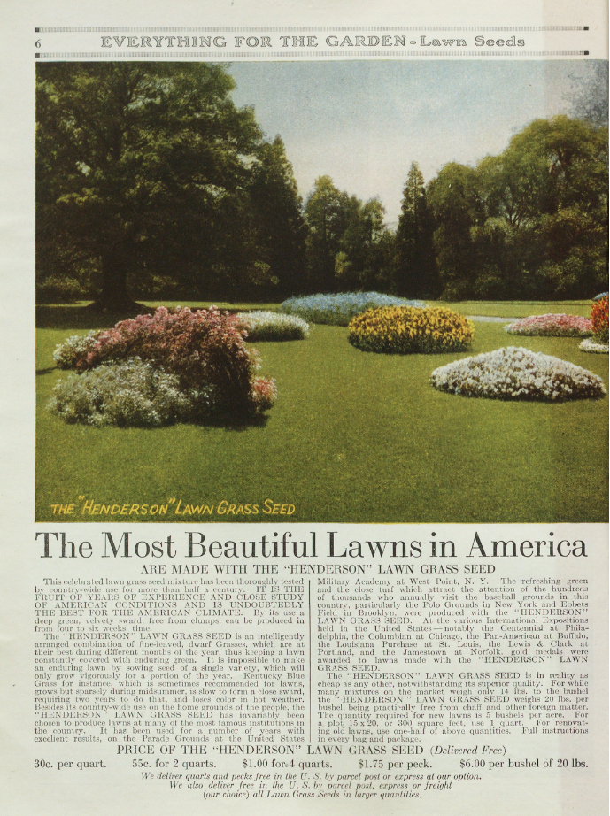 Lawn seed page from Henderson's catalog Everything for the Garden