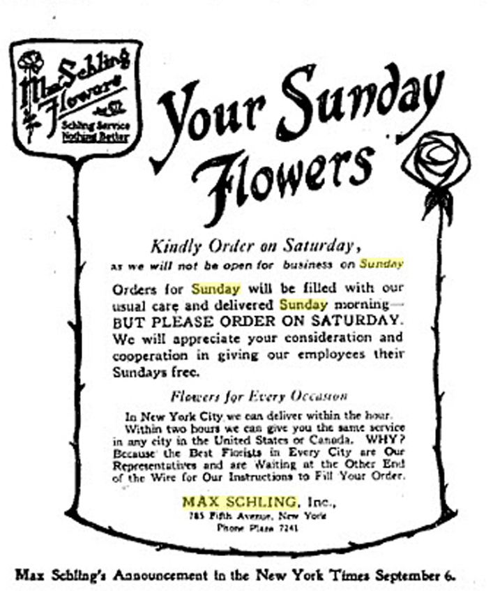 Max Schling's advertisement printed in the September 6, 1919, New York Times informing the public that Max Schling, Inc. would be closed Sundays